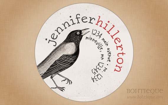 Return Address Label Sticker, Circle Envelope Seal or Wedding Favor Tag: Caw, Caw Crow