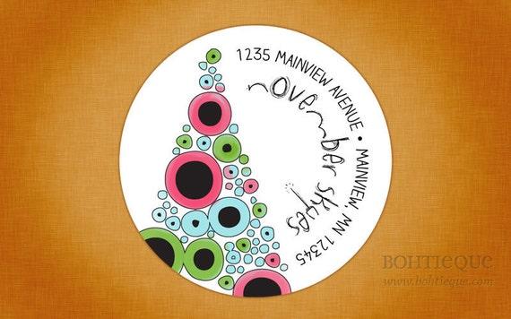 Personalized Christmas Return Address Label Sticker - Sketch Tree