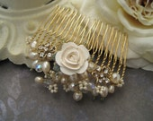 Bridal gold hair comb pearl bead gold wire wrapped
