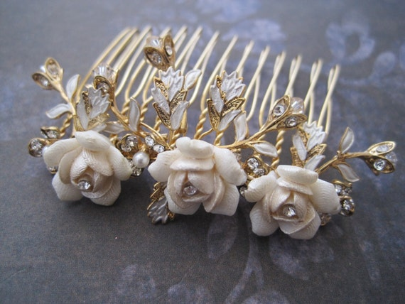 Wedding Hair Comb Ivory Rose Gold Leaf Wire Wrapped Hair Comb