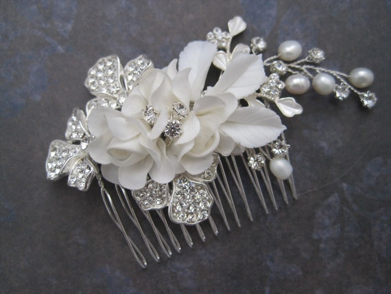 Bridal silver rhinestone pearl fabric flower wire wrapped hair comb