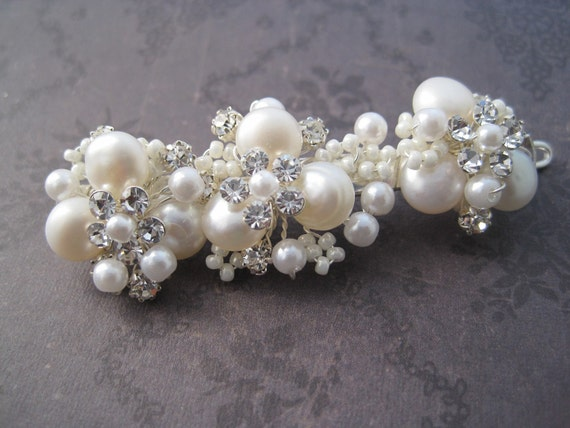 Bridal Barrette Silver pearl and rhinestone wire wrapped bridal hair clip