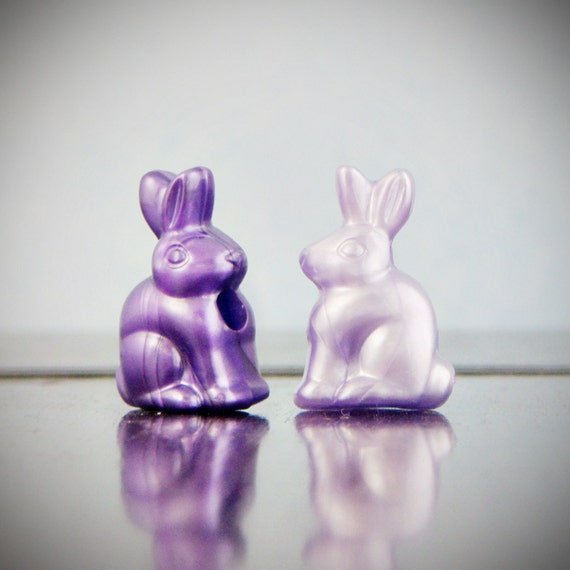 Bunny Beads (qty 10) in sweet purple - large hole sturdy plastic bead