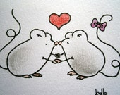 Sweet little mice (No 103) - Original Miniature Painting by bdbworld on Etsy - ACEO