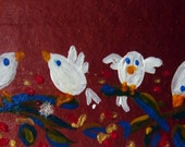 A Sweet Little Birds card (No36) - Original Mini Paint Acrylic on paper
