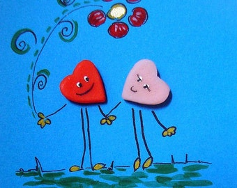 A Sweet  Loving Hearts card (No12) - Original Mixed Media Cold Porcelain on paper
