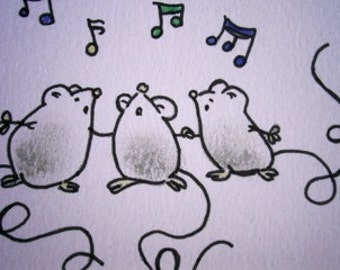 Sweet little mice (No 9)  - Original Miniature Aceo by bdbworld on Etsy