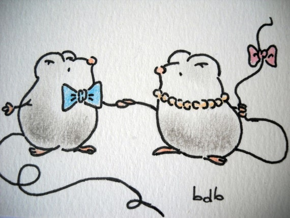 Sweet little mice (No 52) - Original Miniature Painting by bdbworld on Etsy - ACEO