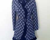 1960's Vintage Designer Lilli Ann Navy Blue and White Dress and Coat Jacket Suit Set Small