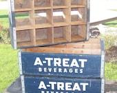 Weekend Sale Soda Crate A-Treat Shelf or Display Case Blue Vintage Wood