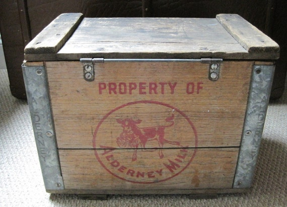 Antique Wood Delivery Dairy Box