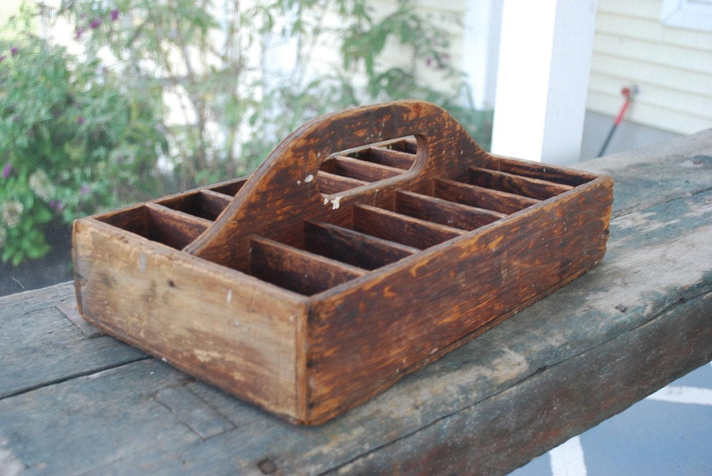 Primitive Vintage Wood Tool Box Garden Tote