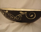 Oval Bowl, Black and White