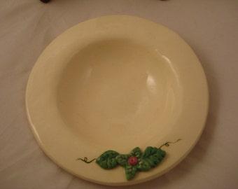 White Mini Bowl with Green Flower/Leaf Motif