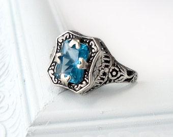 Sterling Silver Manmade Zircon Ring: vintage style filigree, December birthstone, emerald cut, filigree flower, Art Deco jewelry, Edwardian
