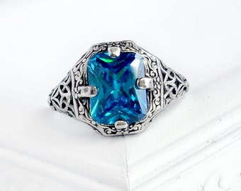 Caroline: Sterling Silver and CZ Ring - swiss blue, emerald cut rectangle, antique, victorian, filigree design, December birthstone