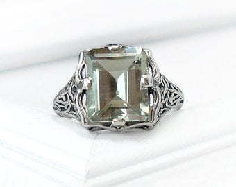 Green Amethyst Ring: Sterling Silver, size 4-10, victorian filigree, prasiolite, gemstone, 10x8 emerald cut, mint, antique engagement