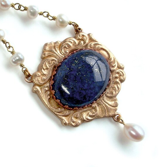 Ornate Opera Necklace: Lapis Lazuli, Bronze, Freshwater Pearl, and Brass - BRONZclay pendant with spiked copeer bezel, renaissance style