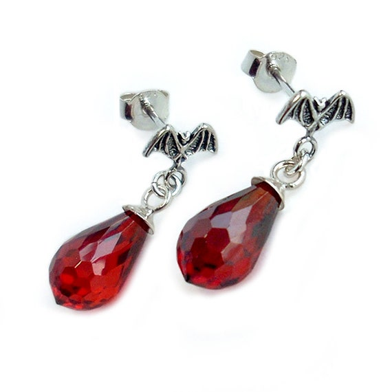 Vampire Bat Earrings: Sterling Silver and Cubic Zirconia Dangles - black and red, gothic, halloween costume
