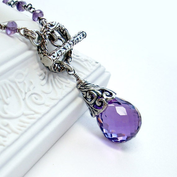 Amethyst Swirl: Purple Amethyst and Sterling Silver - large gemstone drop with swirl pattern bali toggle and cone