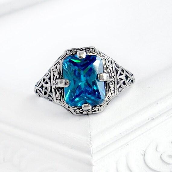 Caroline: Sterling Silver and CZ Ring - swiss blue, emerald cut rectangle, antique, victorian, filigree design, December birthstone