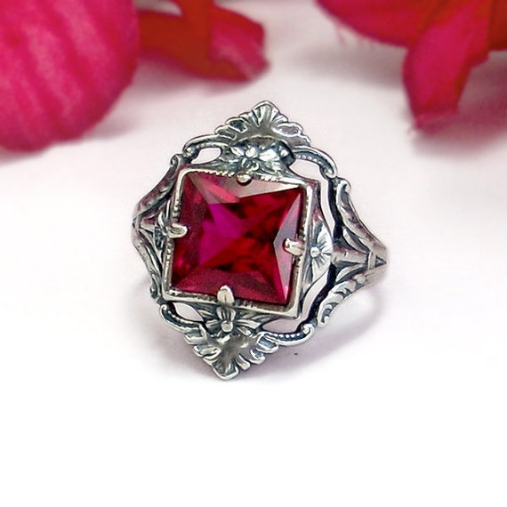 Vintage Ruby Ring: Sterling Silver, Ruby - size 7.5, lipstick red gemstone, antique, Victorian filigree, Renaissance, July birthstone