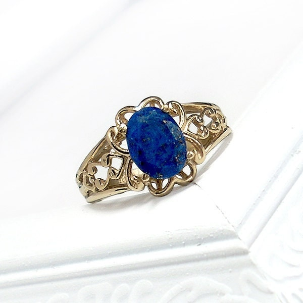 lapis ring 10kt solid gold and lapis lazuli antique ring