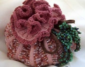 Blossom\/Pumpkin Pouch, Bead Knitted Pouch Pattern by Shelley K. Bossert
