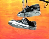 Shoes hanging on wire painting