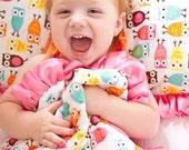 Plush Pink Hooty Owl Baby Blanket Lovey