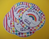 Set of 12 Rainbow party  Favor Tags