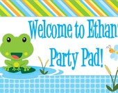 """18""""x12"""" Frog Party Lawn Sign"""