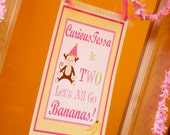 Welcome Door Sign Banner Curious Monkey Girl Birthday Party