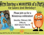 Set of 20 Monster Birthday Party Invitations Custom with or without photo