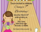 Set of 10 Bowling Birthday Party Invitations Custom
