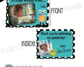 Set of 10 Monster Party Folded DELUXE Thank You Cards with Photo