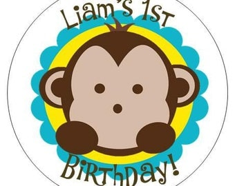 Set of 12 Large Round Monkey Birthday Party Stickers Favor Tags