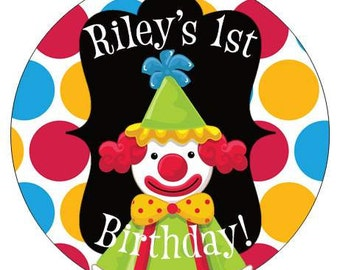 Set of 24 small  Round Circus Clown Birthday Party Stickers Favor Tags