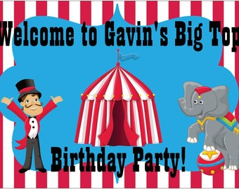 4ft x 2.5ft Vinyl Banner Circus Carnival Welcome Birthday Sign Personalized