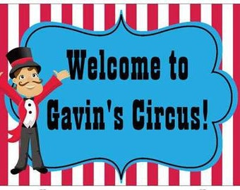 "18""x12"" Welcome Lawn Sign Circus Carnival Personalized"