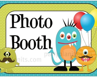 Monster Birthday Party Photo Booth Sign