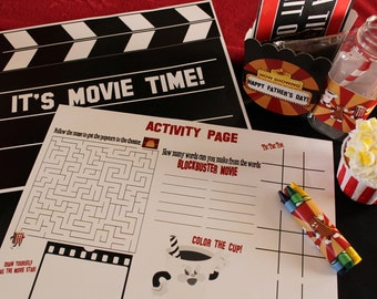 Movie Night Party Activity Placemats diy printable