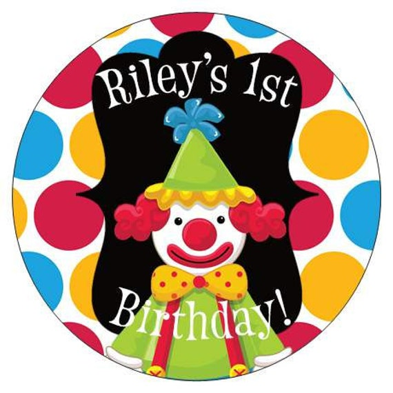 Set of 12 Large Round Circus Clown Birthday Party Stickers Favor Tags