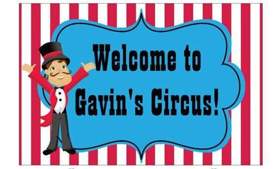 """18""""x12"""" Welcome Lawn Sign Circus Carnival Personalized"""