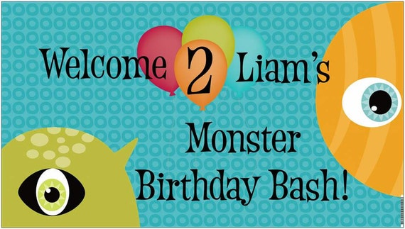 "36""x18"" Vinyl Monster Birthday Welcome Banner"
