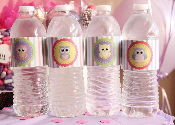 Set of 20 Water Bottle wrappers labels Owl Birthday Party
