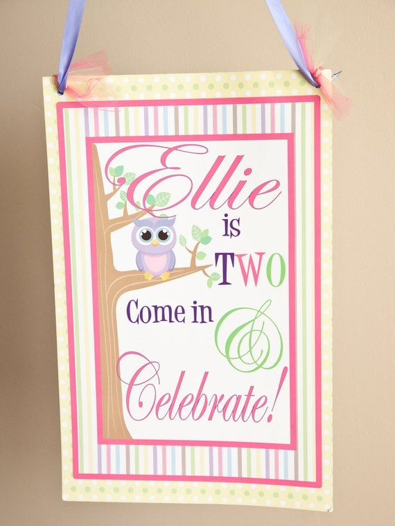 Personalized Welcome Door Sign Banner Owl Party