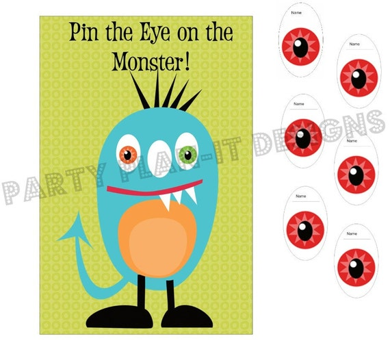 LARGE Monster Party Pin the Eye on the Monster Game
