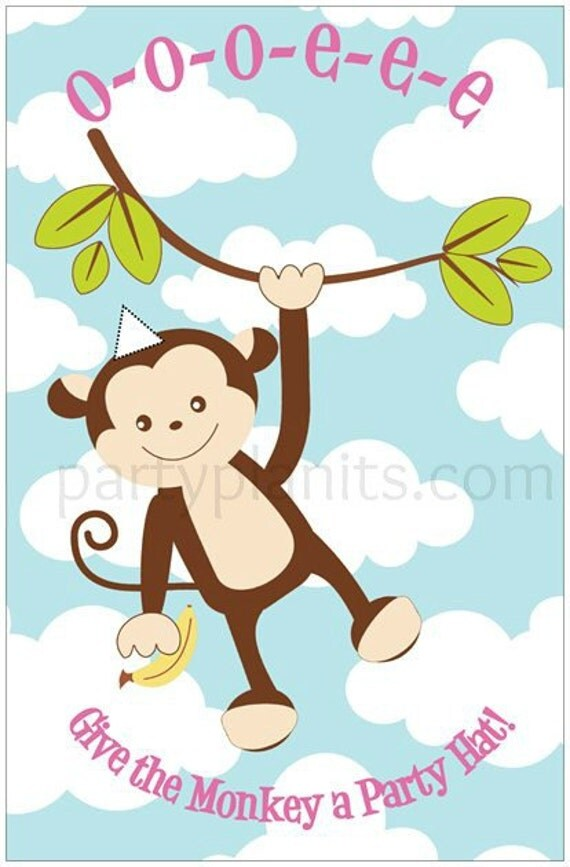 Monkey Birthday Party Game Give the Monkey a Hat
