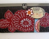 Japanese KOKESHI DOLL Red Flower Vinyl Accordian Style WALLET